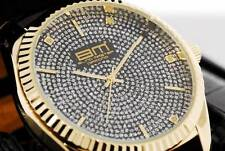 BM Bling Master GENUINE DIAMOND HIP HOP WATCH FLUTED BEZEL LEATHER ICED OUT ICEY
