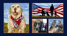 Dogs_brave_military_heros_quilt fabric_Exclusively quilters_cotton_panel