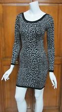 French Connection Animal Print Black & Gray Sweater Mini Dress NWT Sz 4 $118