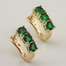 Stylish Green Emerald Fashion Jewelry Gift Gold Filled Huggie Earrings er915