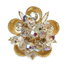 Juliana AB Beads in Gold Half Cup Brooch