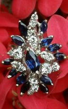 Vintage 18k White Gold  Sapphire Diamond  Ring Estate Jewelry Ladies