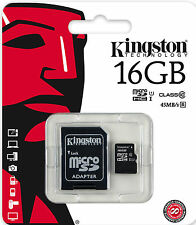 KINGSTON 16gb Micro SD SDHC uhs-1 CLASSE 10-MOBILE CAMERA TABLET NAVIGATORE SATELLITARE UK