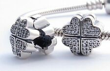 PETALS HEARTS LOVE CLIP CHARM Bead Sterling Silver.925 for European Bracelet 664