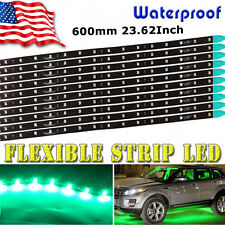 10x Waterproof Green Flexible Strip 60cm Car Motorcycle 2835 LED Light 12V