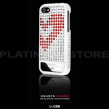 Swarovski Crystal Bling Case iPhone SE 5 5S Lucien Elements Hearts Rouge White