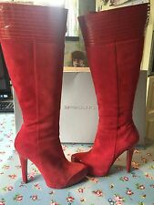 Stunning Red Suede And Leather Patent Gianmarco lorenzi boots Size 39