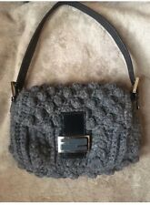 Fendi Wool Knotted Knit And Leather Baguette small shoulder Handbag Purse Grey