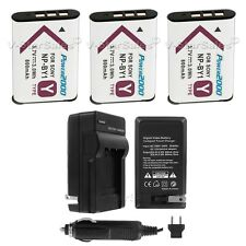 3x NP-BY1 Battery Replacement + Charger for Sony HDR-AZ1 Action Cam Mini