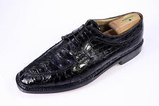 * SILVANO LATTANZI *Bespoke $25,000 Black Crocodile Alligator Oxford Shoes US 11