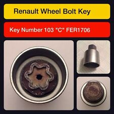 Genuine Renault locking wheel nut/master key code 103 letter C