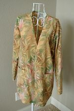 Scrub Warm Up Jacket Size XS Palm Tropical Green Tan Peach Print by UA Scrubs