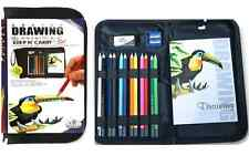 Artista cremallera Carry Case & 12 Color Dibujo bosquejado lápices y almohadilla set-kcds