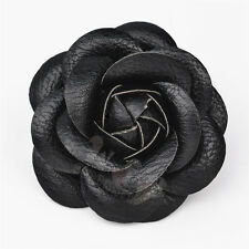 Charm Handmade Black Big Leather Camellia Pin Brooch Leather Flower Pin Brooch
