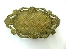 FRENCH ANTIQUE ART NOUVEAU 19TH C. BRASS DORE No. 6 DEPOSE TRINKET VANITY TRAY
