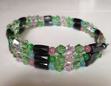 NEW  MAGNETIC HEMATITE & Crystal Beads BRACELET /Necklace/ Anklet 22,5 inches