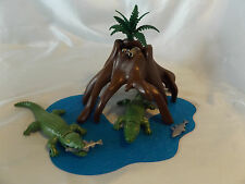Playmobil Swamp Crocodile Pair, Racoons w/ Water Landscape for, Zoo, Ark Animals