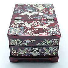 Red jewelry box inlaid with mother of pearl ivy and cranes mirror stand