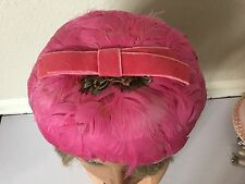 Stunning Real Pink Feathers Women's Vintage Hat Very Fragile & Old Unique Style