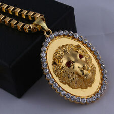 18k Gold Plated Red eyes Lion Head crystal Pendant Chain Hip Hop Necklace N38