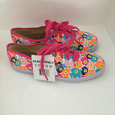 NEW ARRIVAL! SKECHERS LIL BOBS SUNGARDEN FLORAL PRINT GIRL CANVAS SHOES SNEAKERS