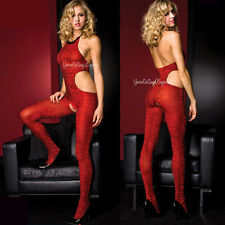ZEBRA Animal PRINT Halter Bodystocking RED & BLACK Cut Out Sides Crotchless OS