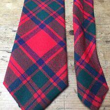 """Vintage 100% laine rouge macintosh doublé tartan cravate 3"""" astuce x 54"""" long"""