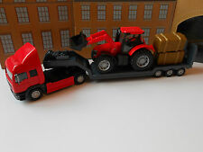 TOY TRUCK LORRY TRANSPORTER TOY TRACTOR DIGGER & HAY BALES FARM SET BOXED & NEW