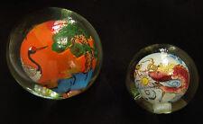 VTG 2 Reverse Hand-painted Glass Balls/ lamp Finials ? Paperweight ? Asian motif