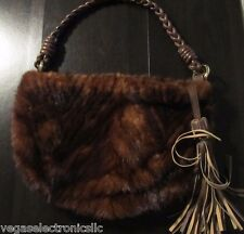 Paolo Masi,Italian Dark Brown Mink & Soft Leather Hand Bag,Single Strap