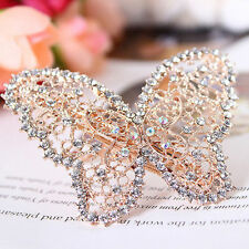 "NEW - Gold Filigree Butterfly Hair Barrette clip w/ Silver Rhinestones - ""Isla"""