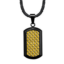 "New Mens Dog Tag Pendant With Gold Carbon Fibre & 22"" Leather Necklace"