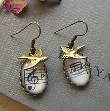 """SONG BIRD"" Swallow Bird Glass Old Music Sheet Cameo Earrings Vintage Boho"