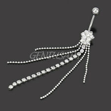Tassels Chain Charm Clear Crystal Dangle Navel Belly  Button Ring Body Piercing