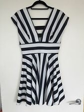 Topshop Love Stripe Prom Skater Dress With Cage Back And Front Size M