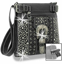 Concealed Carry Buckle & Rhinestone Accented Cross Body Sling Purse Handgun Bag