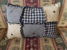 Rag Pillow in Black Homespun with Buttons Country Primitive Decor Handmade in NJ