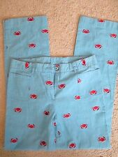 Lilly Pulitzer VINTAGE CUTE denim look EMBROIDERED RED CRAB pants SZ 6