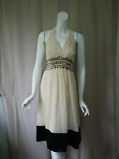 NWT New BCBG MAX AZRIA 100% Silk Beige Halter Dress size 10