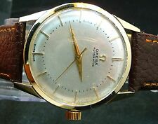 VERY NICE VINTAGE FANCY 1946 OMEGA BUMPER AUTOMATIC GOLD WATCH SERVICE 344 RUN