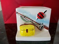 """Vintage """"Lefton'""""  Planter with Fishing Pole and Reel AND BASKET # 971."""