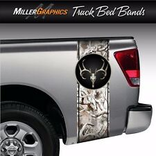 """Buck Deer Skull Camo """"Obliteration Snow"""" Truck Bed Band Stripe Decal Graphic"""