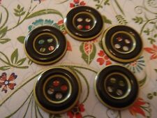 5 Vintage Black & White Buttons Jewelry Scrapbook Handbag Quilt Sew Knit Craft
