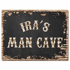 PP4139 IRA'S MAN CAVE Plate Chic Sign Home Room Garage Decor Birthday Gift