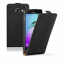 SLIM BLACK Leather Flip Case Cover Pouch For Mobile Phone Samsung Galaxy A3 2016