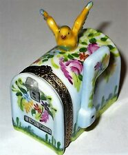 LIMOGES BOX - ELDA - FLORAL MAILBOX & BIRD PERCHED ON TOP - FLOWERS & SHRUBS