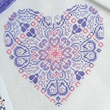 Lace Heart Cross Stitch Kit - Modern XStitch - Backstitch - 14 Count DMC Threads