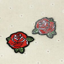 2pcs Red Rose Flower Embroidery Iron On Sew Patch Badge Fabric Clothes Applique