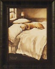 A DOG'S LIFE by John Rossini 17x21 FRAMED PRINT Labrador Lab Dog Sleeping on Bed