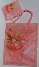 """Quinceanera Mini Gift Bag - 4 1/2"""" X 5 1/2"""" Pink, Girl Birthday Party, Cute!"""